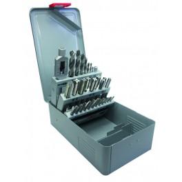 Coffret métallique de forets, jeu de 3 tarauds main et tourne à gauche